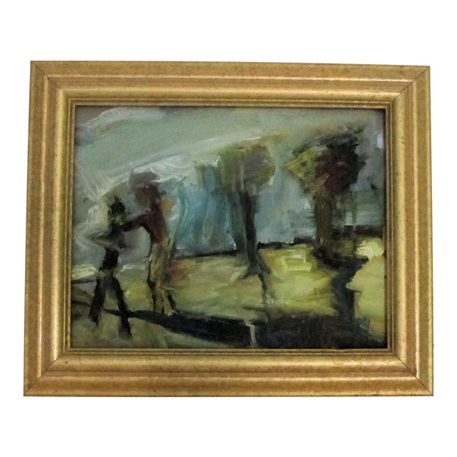 Figures & Trees Impressionistic Oil Painting - Image 1 of 5