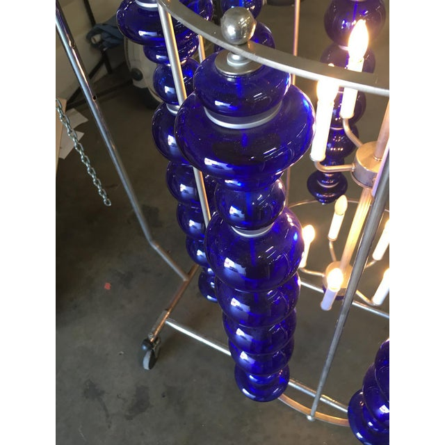 2010s Modern Stacked Cobalt Glass Chandelier W/ Nickel Finish For Sale - Image 5 of 7