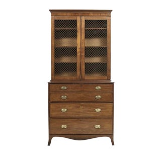 19th Century Georgian Mahogany Butlers Desk With Bookcase For Sale