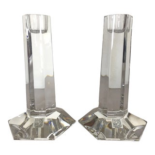 21st Century Modern Reed & Barton Frank Lloyd Wright Crystal Candleholders- A Pair For Sale