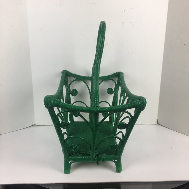 1960s Vintage Wicker Rattan Magazine Rack For Sale In San Diego - Image 6 of 7