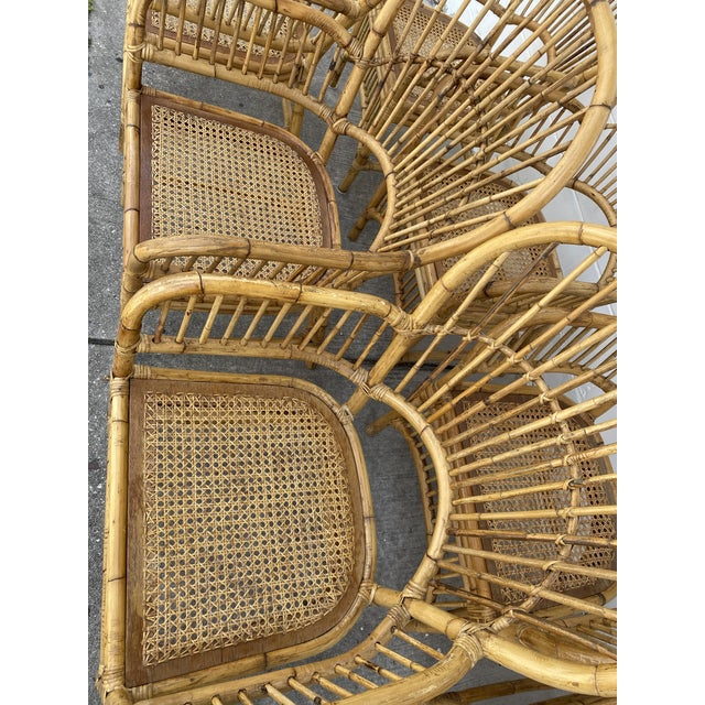 Brown Vintage Rattan Fan Back Chairs- Set of 8 For Sale - Image 8 of 13