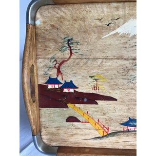 1960s Vintage Wooden Tray-Folk Art Chinoiserie Hand Painted Tray Preview