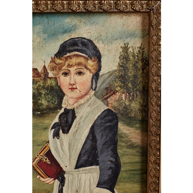 Folk Art 19th Century Folk Art Painting of a Young Girl For Sale - Image 3 of 13