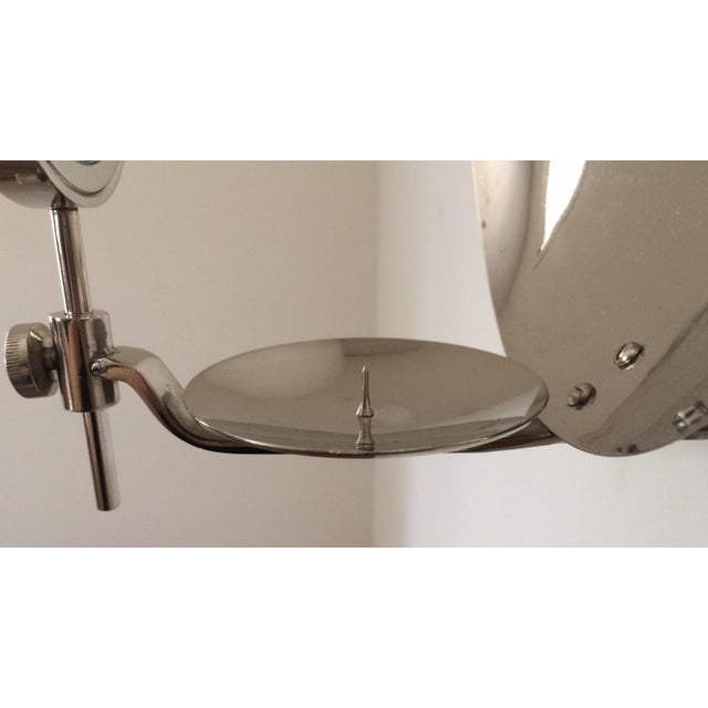 Early 20th Century Rare Early 20th Century Parabolic Reflector Candle Holder Wall Sconce For Sale - Image 5 of 9