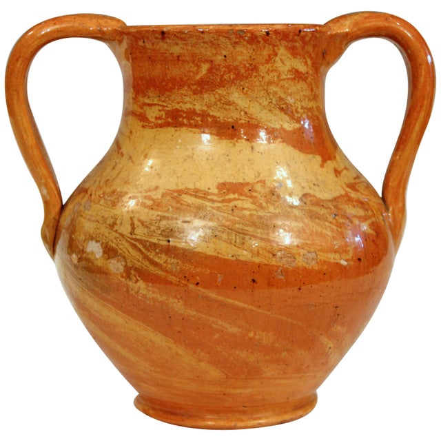 Orange North Carolina Pottery Agate Ware Antique Jonah Owen Early North State Vase For Sale - Image 8 of 8
