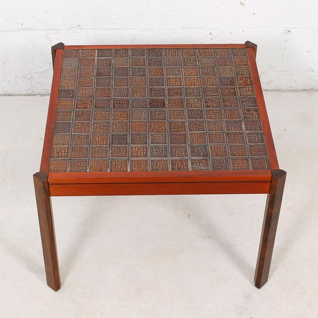 Danish Modern Accent Table with Tile Top For Sale - Image 5 of 8