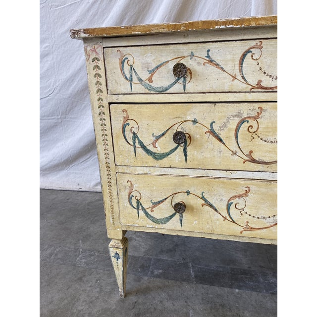 Italian Commode With Hand Painted Designs - 19th C For Sale - Image 4 of 12