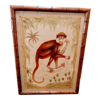 Painted Palm Beach Regency Wood Monkey Greek Key Wall Painting Faux Bamboo Frame For Sale