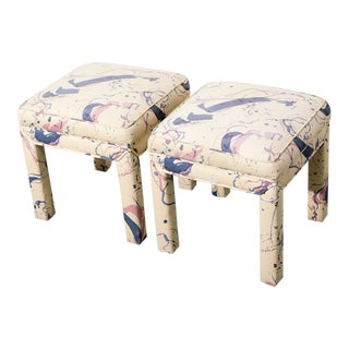 1980s Upholstered Stool For Sale