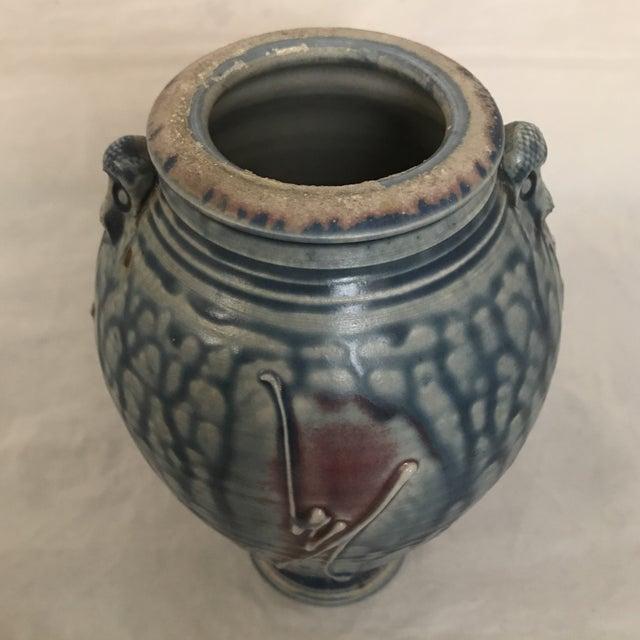 Ceramic Artisan Crafted Blue & Purple Drip Glaze Vase For Sale - Image 7 of 8