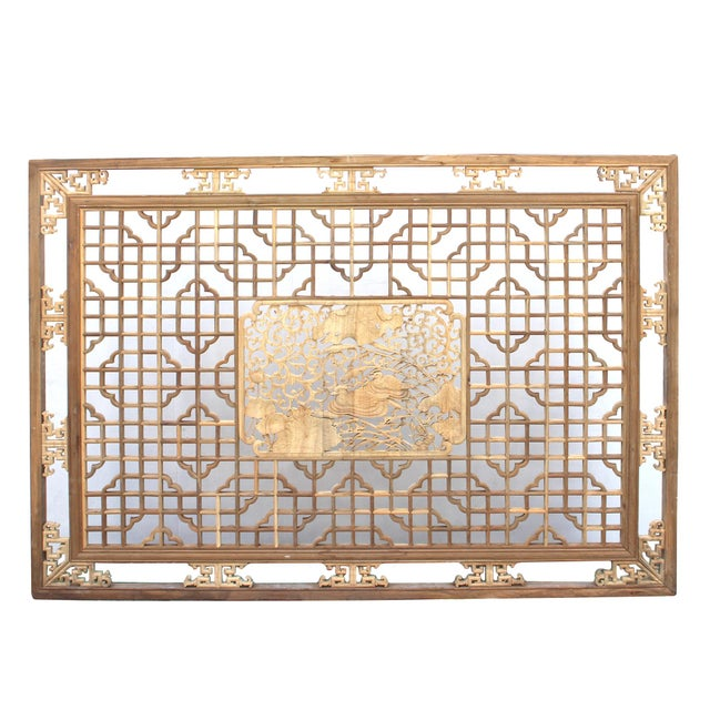 Chinese Rectangular Flower Birds Geometric Wood Wall Decor For Sale - Image 4 of 6
