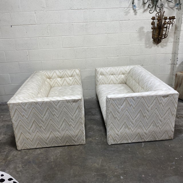 Mid-Century Modern 70s Contemporary Loveseats - a Pair For Sale - Image 3 of 13