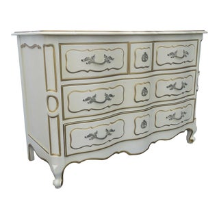 French Carved Painted Small Dresser With Gold Highlights by Drexel For Sale
