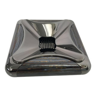 Custom Polished Black Nickel and Tiger Iron Cigar Ashtray