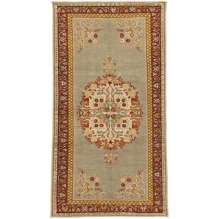 """Vintage Oushak Hand-Knotted Rug - 3'5"""" X 6'7"""" For Sale"""