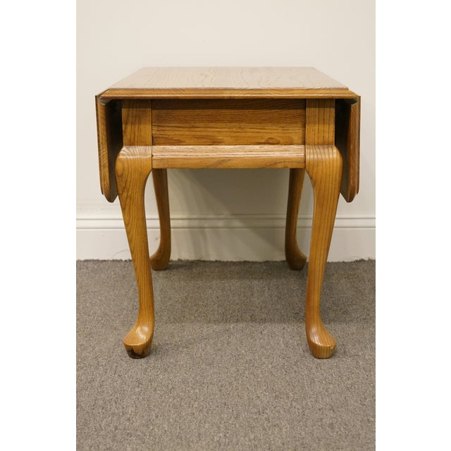 20th Century French Country Mersman Solid Oak Drop Leaf Accent End Table For Sale - Image 11 of 13