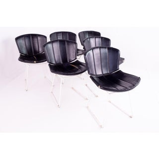 Mid Century Harry Bertoia for Knoll White & Black Leather Dining Chairs - Set of 6 Preview