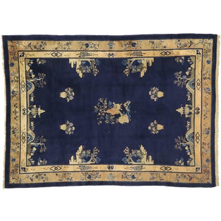 Antique Chinese Peking Rug With Chinoiserie Style - 9′ × 12′5″ For Sale