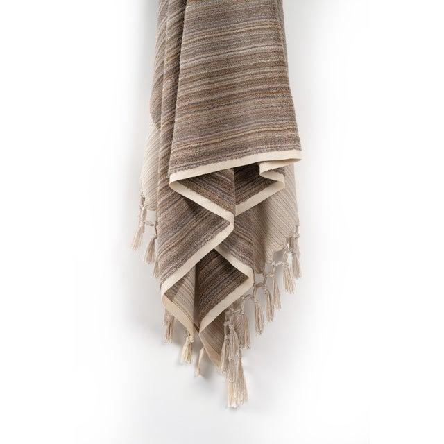 Modern Earth Lines Handmade Organic Cotton Ultra King Bath Towel in Tan For Sale - Image 3 of 10
