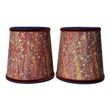Image of Henna Electric Blue Marbleized Paper Sconce Lamp Shades - a Pair For Sale