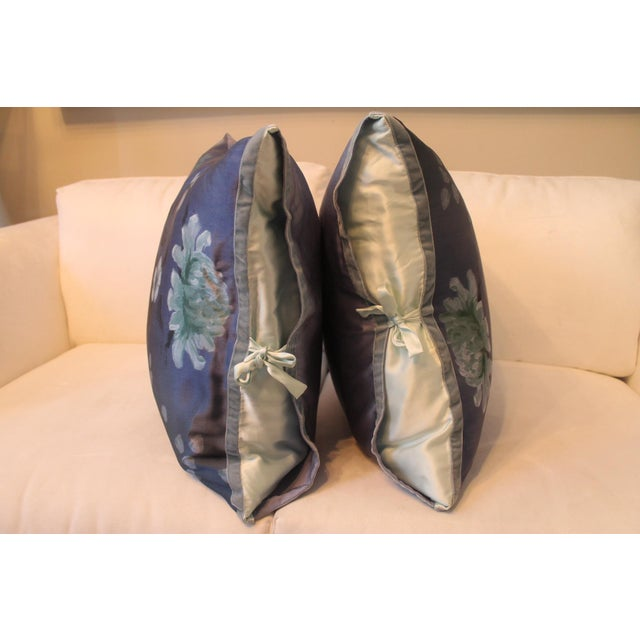 Michele Varian Blue Silk Pillows - A Pair For Sale - Image 4 of 6