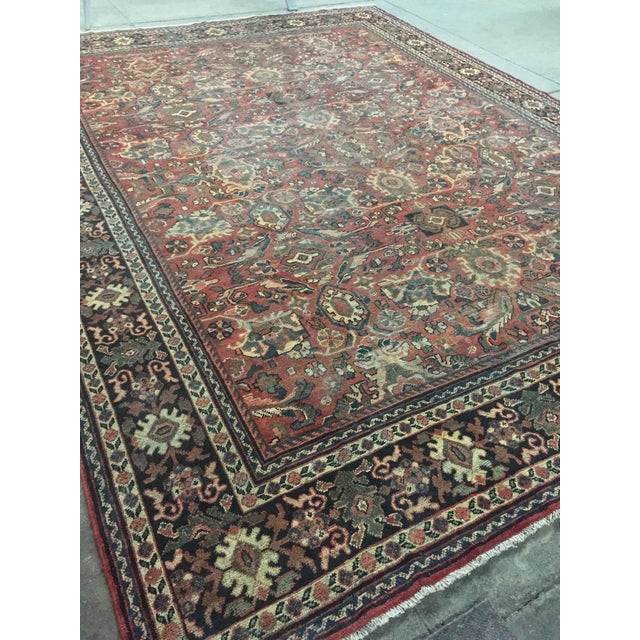 1930s Vintage Distressed Persian Meshkabad Rug - 10′4″ × 13′6″ For Sale - Image 12 of 13