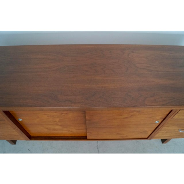 1960s Mid-Century Modern Refinished Walnut Credenza For Sale - Image 11 of 13