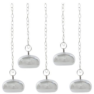 Robert Sonneman Chrome Pendant Lights - Set of 5 For Sale
