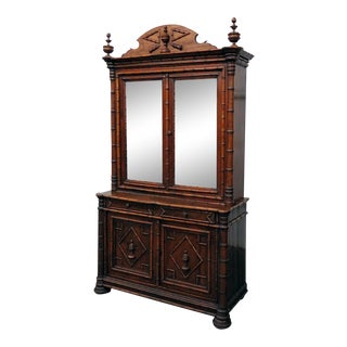 Antique French Faux Bamboo China Cabinet For Sale