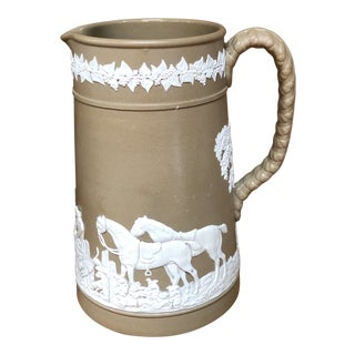 Antique Early English Brown Jasperware Pitcher Hunt Scene For Sale