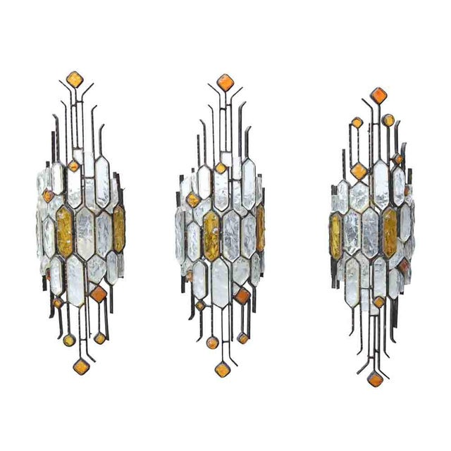 1970s Brutalist Sconces by Longobard - Set of 3 For Sale - Image 5 of 5