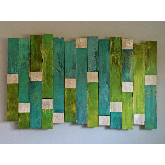 Green & Blue Sculptural Painting - Image 2 of 3