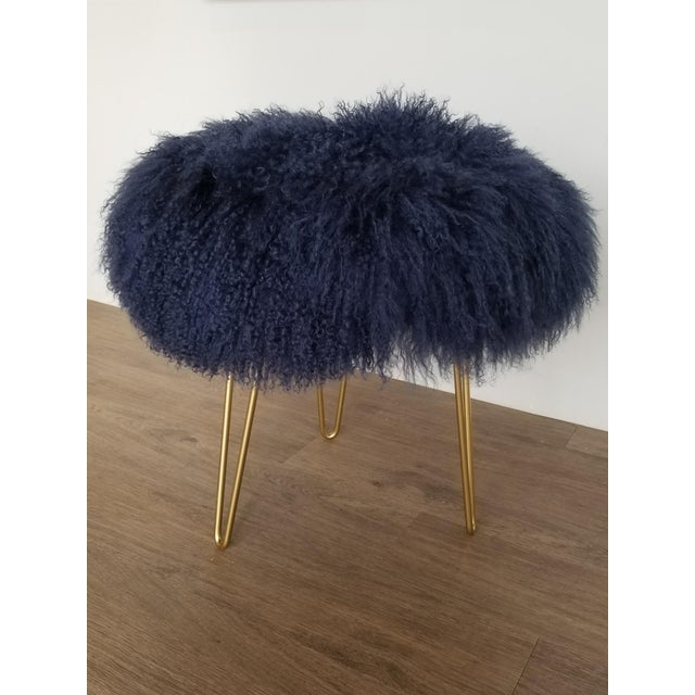 Navy Genuine Mongolian Lambs Wool Stool For Sale - Image 4 of 4