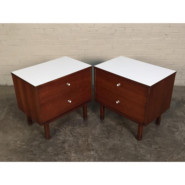 Mid-Century Danish Modern White Top Nightstands - a Pair - Image 2 of 10