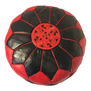 Vintage Moroccan Red and Black Round Leather Pouf For Sale
