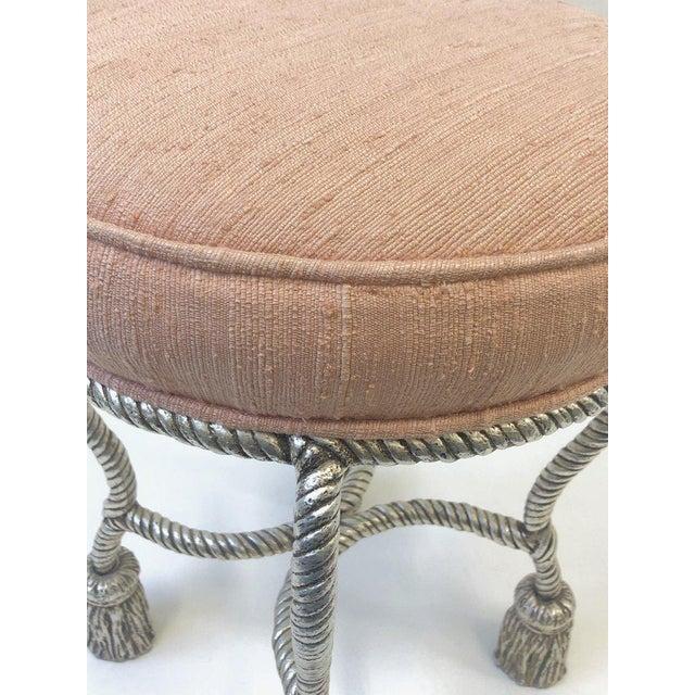 Silvered Rope Tassel Vanity Stool by Phyllis Morris For Sale In Palm Springs - Image 6 of 8