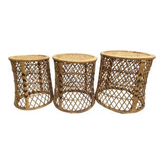 Wicker and Cane Nesting Tables or Stands - Set of 3