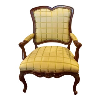 1980s Louis XII Century Furniture Upholstered Accent Chair For Sale