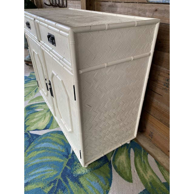 White Vintage Faux Bamboo Basketweave Rattan Cabinet For Sale - Image 8 of 13