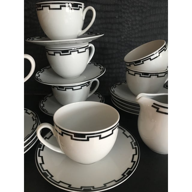 Modern Greek White Black Geometric Sompex Ionia Collection Service of 11 For Sale - Image 4 of 12