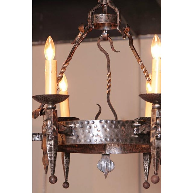 Metal Early 20th Century French Wrought Iron Six-Light Chandelier With Fleur-De-Lys For Sale - Image 7 of 10