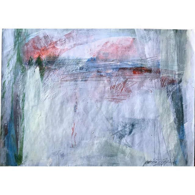 """1980s Bay Area Artist """"East Creek Bridge"""" Abstract Painting For Sale"""