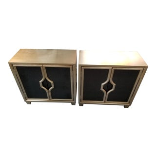 Contemporary Black & Gold Side Tables - A Pair For Sale