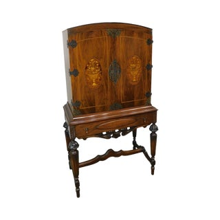 1920's French Renaissance Revival Style Walnut Marquetry Inlaid 2 Door Cabinet For Sale