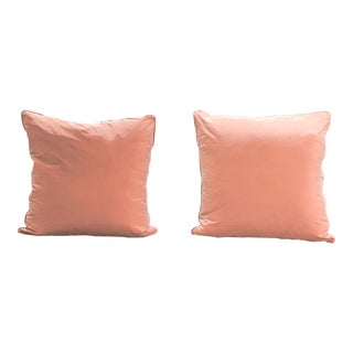 Houles Rose Taffeta Pillows - a Pair For Sale