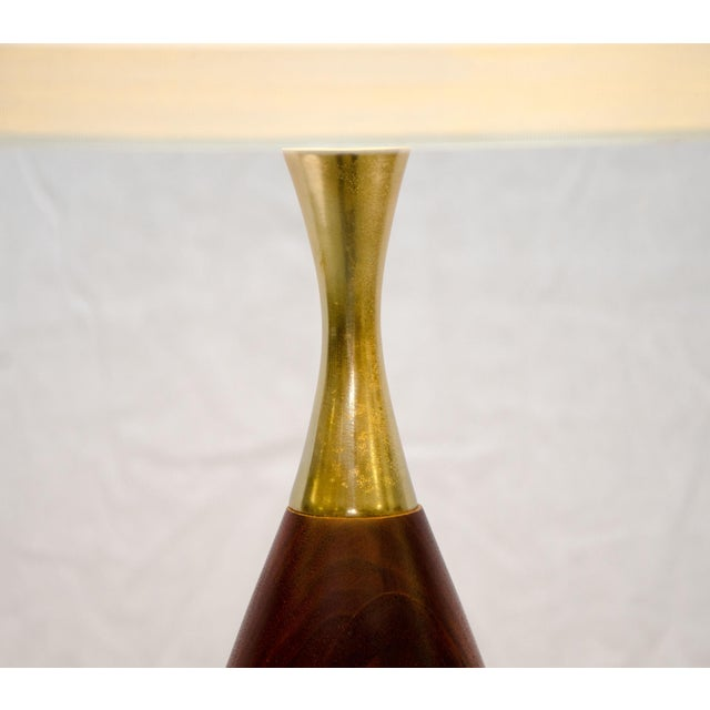 1950s Walnut and Brass Table Lamp, Tony Paul For Sale - Image 5 of 6