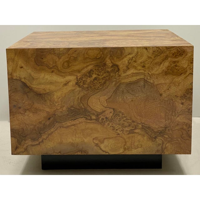 Modern Milo Baughman Style Modern Faux Burlwood Laminate Cube Coffee Table For Sale - Image 3 of 4