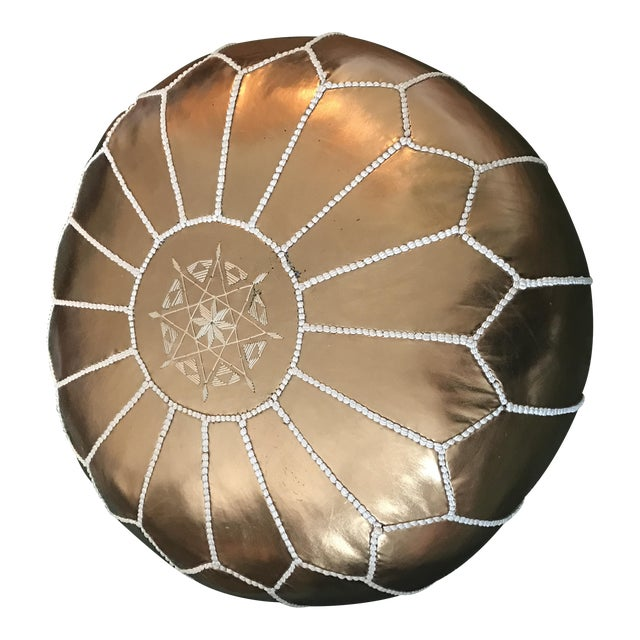 Bronze Embroidered Moroccan Pouf - Image 1 of 3