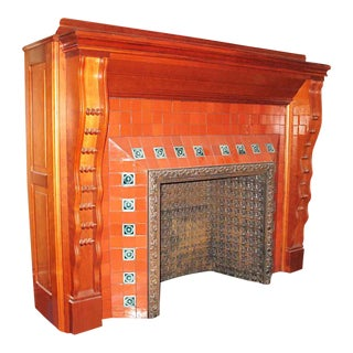 Rock Maple Mantel With Red Tile Surround